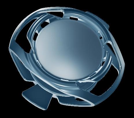 Structure complexe de l'implant accommodatif Synchrony avec sa double optique.